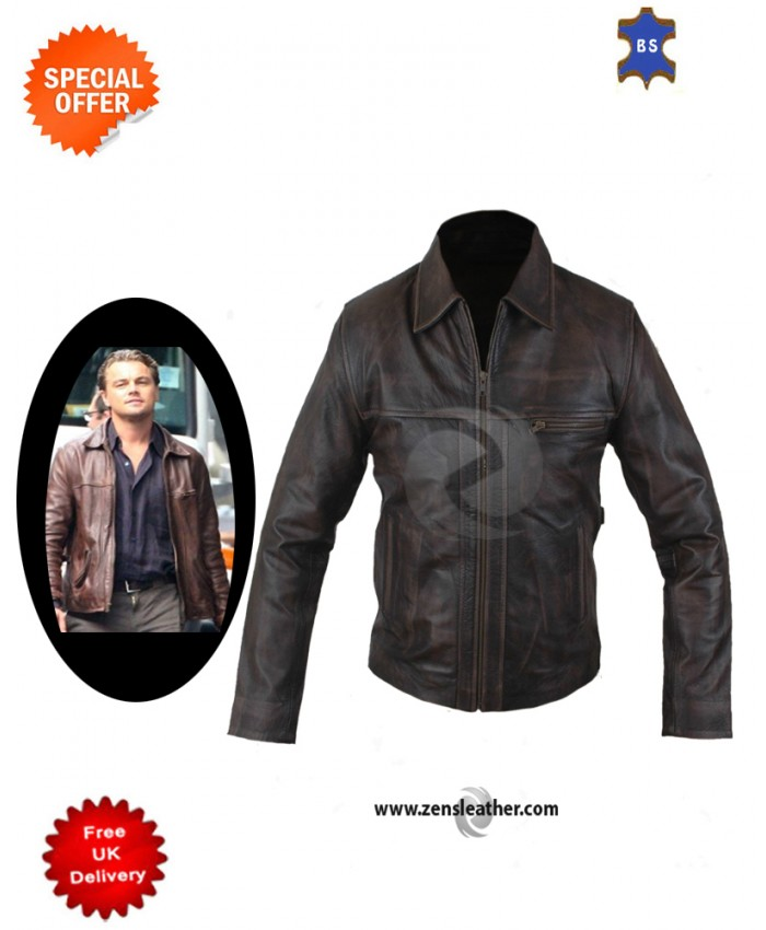 Men's Inception Cobb Biker Brown Classic Leather Jacket